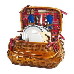 Sandringham Rattan Bamboo Picnic Basket with Service for 2
